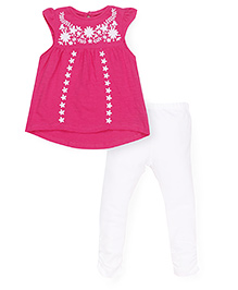 Mothercare Cap Sleeves Top And Leggings Floral Embroidery  - Dark Pink White