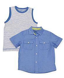 Mothercare Sleeveless T-Shirt And Half Sleeves Shirt -  Blue Light Grey