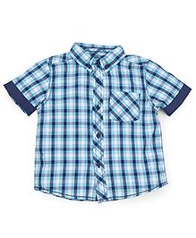 Mothercare Half Sleeves Checks Shirt - Blue And Navy