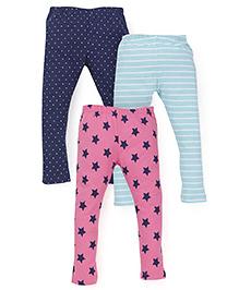 Mothercare Printed Leggings Set of 3 - Navy Blue Pink