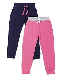 Mothercare Track Pants Pack of 2 - Pink Navy