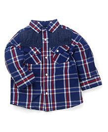Mothercare Full Sleeves Checks Shirt - Navy