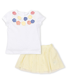 Mothercare Top And Skirt Set Flower Applique - White And Yellow
