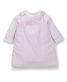 Mothercare Frock With Inner Top Heart Patch - Light Pink