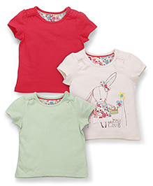 Mothercare Short Sleeves Tops Plain And Printed Pack Of 3 - Red Off White Green