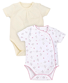 Mothercare Half Sleeves Onesies Printed Pack Of 2 - White Yellow