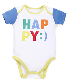 Mothercare Half Sleeves Onesie Printed -  White Blue Yellow