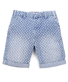 Mothercare Denim Shorts With All Over Design - Blue