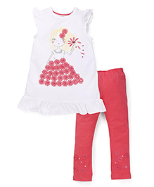 Mothercare Flutter Sleeves Frock And Leggings - White Red