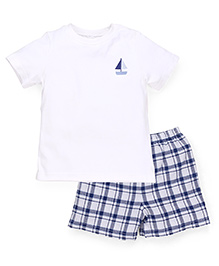 Mothercare Half Sleeves T-Shirt And Shorts Set - White Navy
