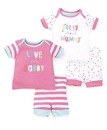 Mothercare Half Sleeves T-Shirt And Shorts Pack Of 2 - Pink White