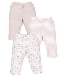 Mothercare Full Length Leggings Printed Pack Of 3 - White Beige