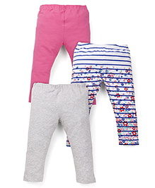Mothercare Full Length Leggings Printed And Plain Pack Of 3 - Pink White Grey