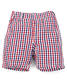 Mothercare Checks Shorts With Elasticated Waist - Red Navy