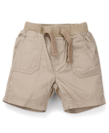 Mothercare Plain Shorts With Elasticated Waist And Draw String - Beige
