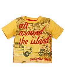 Mothercare Half Sleeves T-Shirt Island And Sunshine Days Print - Yellow