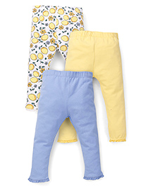Mothercare Solid And Printed Leggings Pack Of 3 - Yellow & Blue
