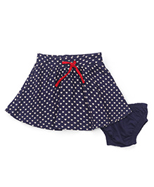 Mothercare Drawstring Skirt With Bloomer Allover Heart Print - Navy Blue
