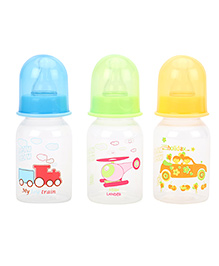 Mee Mee Premium Feeding Bottle 125 Ml Pack Of 3 - Blue Green Yellow
