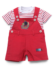 ToffyHouse Dungaree Style Romper With Stripe T-Shirt Ship Embroidery - Red White