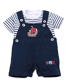 ToffyHouse Dungaree Style Romper With Stripe T-Shirt Ship Embroidery - Navy White