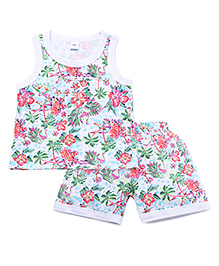 ToffyHouse Sleeveless Tee And Shorts Set Floral Print - Multi Color