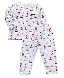 ToffyHouse Full Sleeves Night Suit Ship Print - White