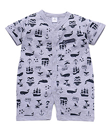 ToffyHouse Short Sleeves Romper Whale Print - Grey