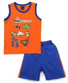 Taeko Sleeveless T-Shirt And Shorts My Beach Check List Print - Orange Royal Blue