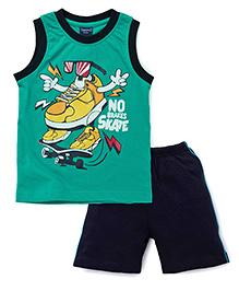 Taeko Sleeveless T-Shirt And Shorts Skate Print - Green Navy Blue
