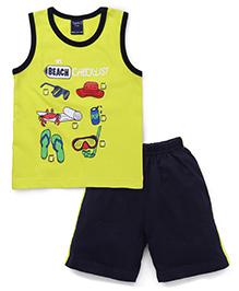 Taeko Sleeveless T-Shirt And Shorts My Beach Check List Print - Lemon Green Navy