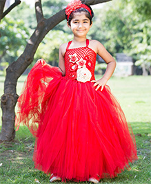 Maddys Club Full Length Frill Multi Flower Applique Ribbon Strap Dress - Red