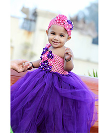 Maddys Club Frill Multi Flower Applique Cut Out One Strap Dress - Purple