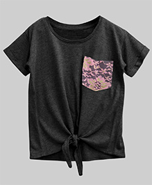 A.T.U.N Bubble Knot Tee With Lace Pocket - Grey
