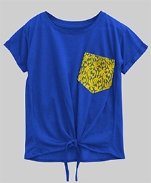 A.T.U.N Bubble Knot Tee With Lace Pocket - Cobalt Blue