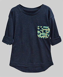 A.T.U.N High Low Hem Tee With Embroidered Pocket - Navy Blue