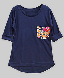 A.T.U.N High Low Hem Tee With Embroidered Pocket - Prussian Blue