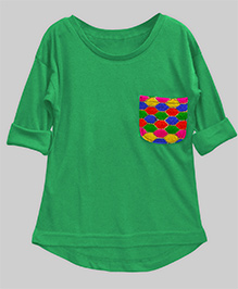 A.T.U.N High Low Hem Girls Tee With Embroidered Pocket - Parakeet Green