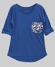 A.T.U.N High Low Hem Tee With Embroidered Pocket - Sapphire Blue