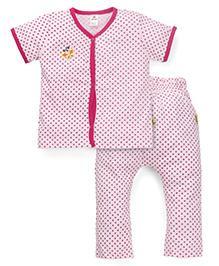Tiny Bee Polka Dot Print Tee & Pant Set - Pink