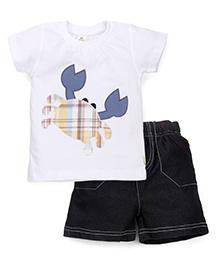 Tiny Bee Basic Crew Neck Tee & Shorts Set - White & Black
