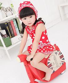 Dazzling DollsRuffled Polka Dot Peplum One Piece Swimsuit With Cap - Red