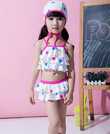 Dazzling DollsSet Of Three Polka Dot Layered Ruffled Tankini Set With Cap - White