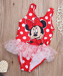 Dazzling Dolls Polka Dot Cartoon Swim Wear With Lace Trimmings - Red