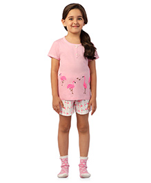 De-Nap Set Of Flamingo Printed Top & Shorts - Pink