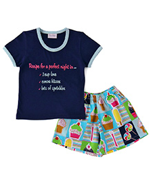 De-Nap Set Of Ice Cream & Candy Printed Shorts With Top - Blue