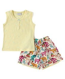 De-Nap Set Of Zoo Animal Printed Shorts & Top - Lemon