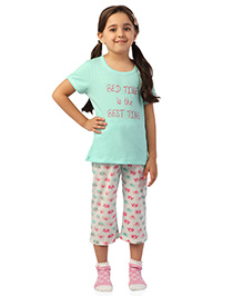De-Nap Set Of Bed Time Is The Best Time Printed Top & Capri - Mint