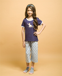 De-Nap Set Of Pony Printed Top & Capri - Navy Blue