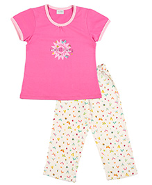 De-Nap Set Of Flies Printed Top & Capri - Fuchsia